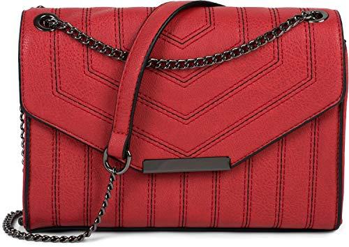 styleBREAKER Bolso de Bandolera de Mujer con Costuras Decorativas en Color de Contraste, Bolso de Hombro, Bolso de Mano, Bolso 02012308, Color:Rojo