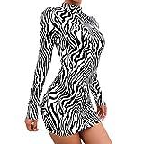 HX fashion Ladies Mini Dress Nledertigermuster Abito Zebra Stampa Leopardo Vestito dal Randello Dolcevita Aderente Vestitino Partito (Color : B, One Size : S)
