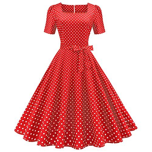 IMEKIS Vestido retro de los años 50 para mujer, con lunares...