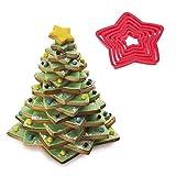 Iindes plástico 6 pcs Set 3d jengibre Star Kit de Cortadores de galletas para galletas de decoración para árbol de Navidad regalo