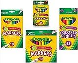 Crayola Crayons (24 Count), Crayola Colored Pencils in Assorted Colors (12 Count), Crayola (10ct) Classic Fine Line Markers, and Crayola (10ct) Classic Broad Line Markers Holiday  Bundle