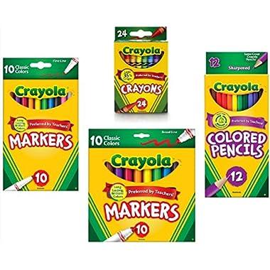 Crayola Crayons (24 Count), Crayola Colored Pencils in Assorted Colors (12 Count), Crayola (10ct) Classic Fine Line…