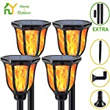 S.Y. Solar Lights Outdoor, 4 Pack, 96 LED Torch Light with Dancing Flickering Flames, 3 Installation, 2 Heights Available, Waterproof Landscape Solar Garden Lights, Auto On/Off Outdoor Lighting