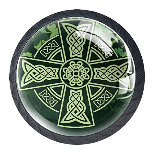 Celtic Cross Shamrock Cabinet Dresser Drawer Knobs Glass Pull Handle for Cabinet Door Wardrobe Cupboard
