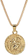 AILUOR St Christopher Medal Patron Saint of Travelers Catholic Protection Pendant Necklace, Gold Silver Tone Devotional Pendant with Prayer Card Jewelry Unisex