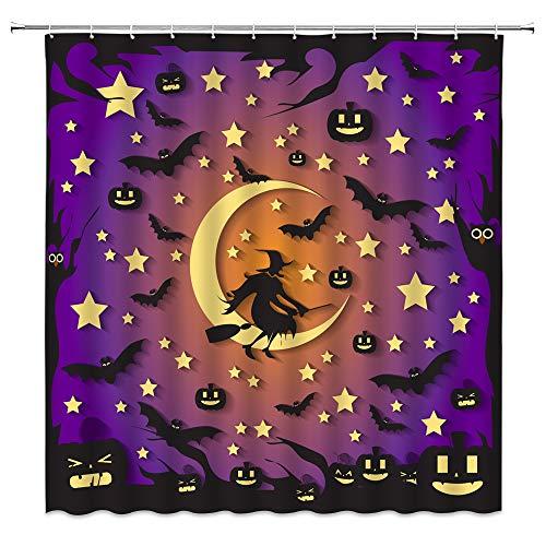 Halloween Duschvorhang Lila Schwarz Hexe Gelb Mond Stern Kürbis Fledermaus Abstrakter Baum Kinder Kreative Cartoon Happy Party Stoff Badezimmer Vorhang-Set 178 x 178 cm mit Haken