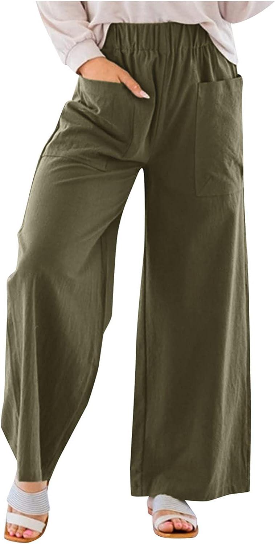 Pyhlmscde Women Trousers Wide Leg Long Pants Summer Elastic Band Sweatpants Baggy Flare Pants with Pockets