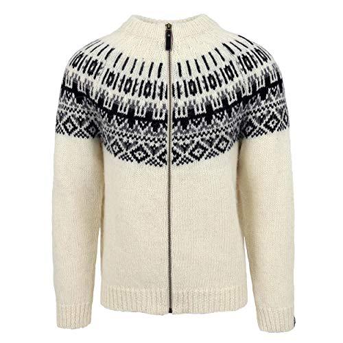 ICEWEAR - Elís ISLÄNDISCHER Herren UND Frauen Pullover AUS 100% ISLANDWOLLE | mt Reißverschluss | mit traditionell-isländischem Muster | Wasserabweisend besonders warm | Hergestellt in Island