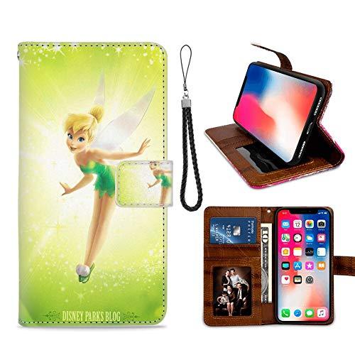 DISNEY COLLECTION Funda tipo cartera para iPhone X/10/Xs, diseño de Campana de Disney con diseño de Campana de Crédito, con cierre magnético y función atril