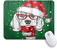 ZOMOY マウスパッド 個性的 おしゃれ 柔軟 かわいい ゴム製裏面 ゲーミングマウスパッド PC ノートパソコン オフィス用 デスクマット 滑り止め 耐久性が良い おもしろいパターン (かわいいクリスマス帽子ビーグルクリスマス新年犬)