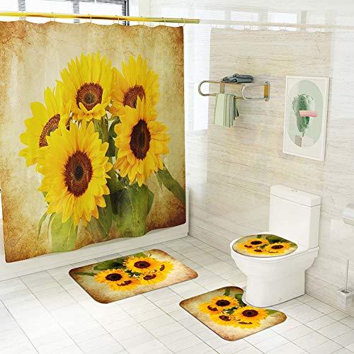 ETOPARS Vintage Sonnenblume Badezimmer Duschvorhang Teppich Set 4-teilige weiche und rutschfeste Badematte, U-förmiger Kontur Teppich, Toilettendeckelabdeckung 72 x 72 Zoll