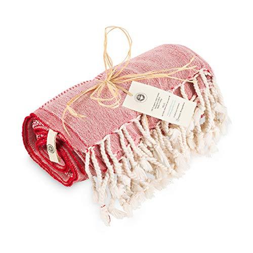 Rüzgarfabrics Premium Strandtuch - Türkisches Badetuch aus 100% Baumwolle - 178cm x 91cm - Strandtücher auch als Pestemal oder Saunatuch - 100% Made in Turkey, vegan (rot)