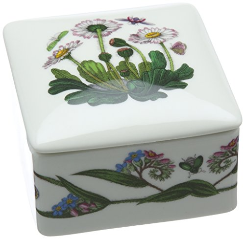 Portmeirion Home & Gifts Square Trinket Box, Porcelain, Multi Coloured