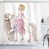 N/X Duschvorhang Lächelnde Prinzessin auf einem weißen Pferd mit einem Langen Mähnen-Glücksthema-Druck-Badezimmer-Dekor