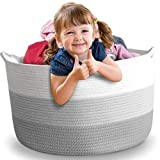 "Nursery Storage Basket, 22'x22'x16"",XXL, Cotton Rope Baby Laundry Basket, Blanket Basket, Toy Storage Hamper, Laundry Hamper"