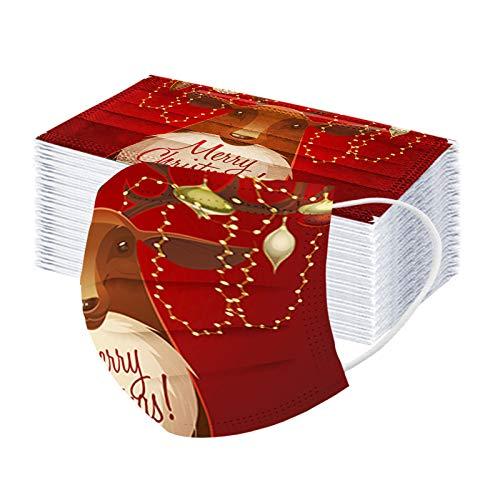 Tomatoa 50 Stück Weihnachts Druck Mundschutz, Staubschutz Atmungsaktive, Erwachsene, Outdoor Bandana Sommerschal