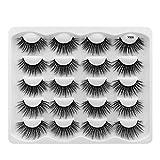 Leipple 3D Mink Lashes - 10 Pairs Professional Handmade Fake Eyelashes - Natural Reusable Thick Fluffy False Eyelashes Faux Mink Eyelashes (Y008)