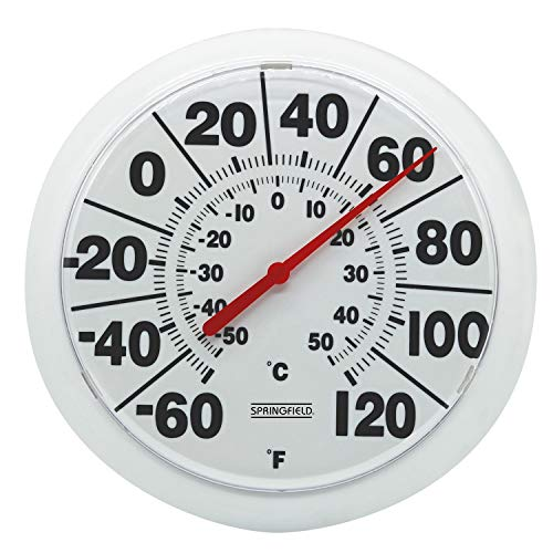 Springfield 90050 8  Indoor Outdoor Dial Thermometer, White