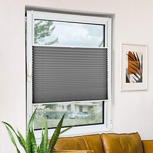 Bernice klemmfix Plissee ohne Bohren, Anthrazit 35x100cm(BxH) klemmrollo mit Klemmträger, abdunkelnde Jalousien zum Klemmen, durchlässige Fensterrollos für Fenster & Tür