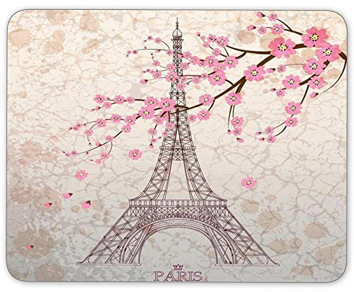 TuMeimei Non-Slip Rubber Mouse Pad, Beautiful Paris Tower and Cherry Blossoms Mouse pad (9.5 inch x 7.9 inch)