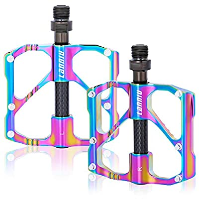 """LANNIU Bike Pedals Mountain Bike Pedals MTB Pedals Bicycle Flat Pedal, 3 Sealed Bearings Pedals with 12 Anti-Skid PINS, 9/16"""" Spindle for Mountain Bikes, Road Bikes, Folding Bikes"""