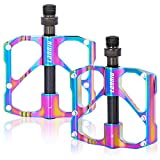 """LANNIU Mountain Bike Pedals MTB Pedals Bicycle Flat Pedal, 3 Sealed Bearings Pedals with 12 Anti-Skid PINS, 9/16"""" Spindle for Mountain Bikes, Road Bikes, Folding Bikes"""