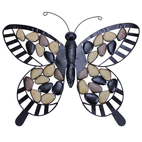 Decoratieve vlinder 55 cm steen metaal wandversiering wanddecoratie tuindecoratie
