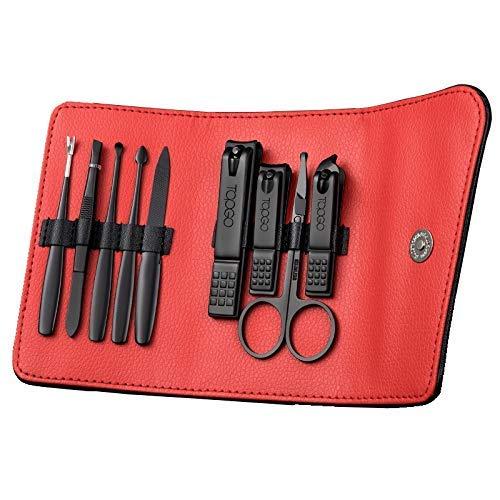 Ensemble de manucure, 9pcs / coupe-ongles ensemble professionnel kit d'outils de pédicure de manucure en acier inoxydable avec étui de transport en cuir, kit de kit de toilettage de voyage de manucu