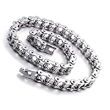 Qiaonitu 11mm Punk Bike Motorcycle Necklace Men 316L Stainless Steel Motor Bicycle Biker Chain Long Necklace Jewelry Silver 21.65-28inch (Silver, 21.65)