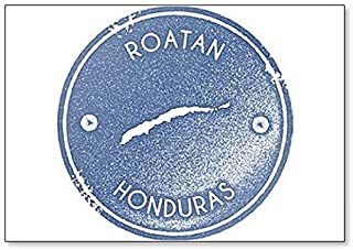 Roatan Map Vintage Stamp. Retro Style Illustration Classic Fridge Magnet