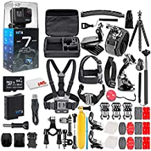 GoPro HERO7 Black - Waterproof Action Camera with Touch Screen, 4K HD Video, 12MP, Live Streaming and Stabilization - with 64GB Card and 50 Piece Accessory Kit - Ecommerce Packaging - Loaded Bundle