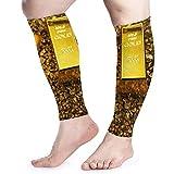 Manga de compresión de la pantorrilla de oro roto de lingotes Hombres Mujer Manga de la pierna para correr Alivio del dolor muscular de la férula