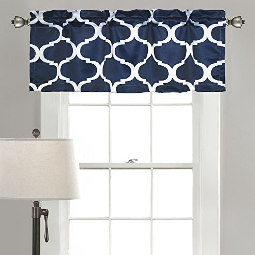 "Lush Decor, Navy Geo Valance, 18 x 52, 18"" x 52"""