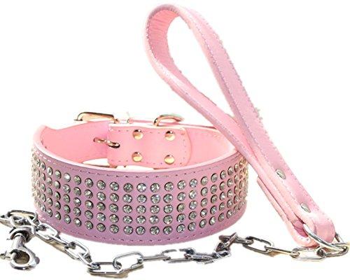 haoyueer Juego de collar de cadena para perro de 5 cm de ancho, de piel con diamantes de imitación, resistente para Pitbull, Bulldog, Doberman (S, rosa)