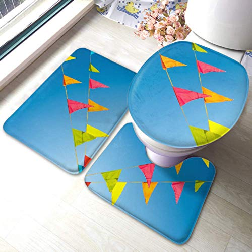XHYYY Toilet Rug Set Colorful Bunting Flags Against Blue Saturated Non-slip Bathroom Rug Mat Sets,toilet Pad Cover Bath Mat And Toilet Lid Cover
