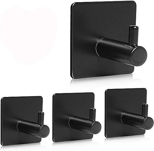 YAKAON Adhesive Hooks, [4 Pack] Heavy Duty Durable 304 Stainless Steel Wall Hangers, Waterproof Rustproof Oil Proof f...