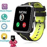 Kinder Uhren Smart Watch für Student, Jungen Mädchen LBS Smartphone-Uhr mit Voice-Chat SOS MP3-Musik-Player Kamera Zurück in die Schule Birthday Gift(Enthält 1 GB SD-Karte) Schwarz