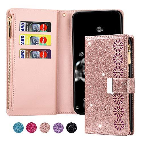 ColiColi Funda de piel para Samsung Galaxy S21, funda de piel sintética con cierre de cremallera para Samsung S30, funda para teléfono móvil, niña, con correa de mano y tarjetero, color rosa