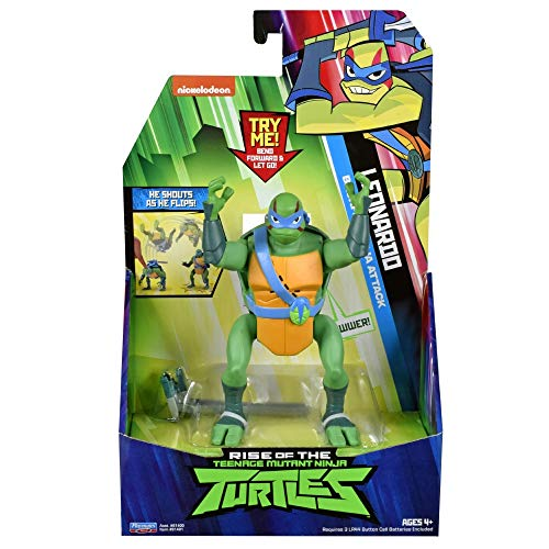 The Rise of The Teenage Mutant Ninja Turtles - Figuras de acción de Ataque Ninja de Lujo - Leonardo Backflip Attack
