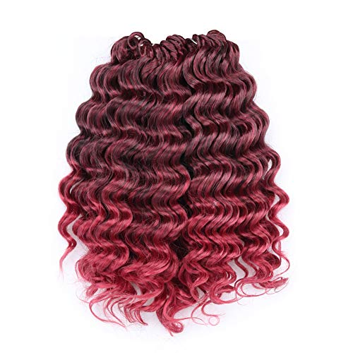 Deep Wave Crochet Hair 10 Inch 8Packs Ombre Burgundy Deep Wave Crochet Braids Synthetic Hair Extensions Toyotree (10inch, T118)