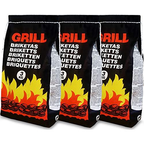Deuba 9 Kg Grillbriketts | 3 x 3kg | Holzkohle Grillkohle Holzkohlebriketts Holzkohlegrill Grill