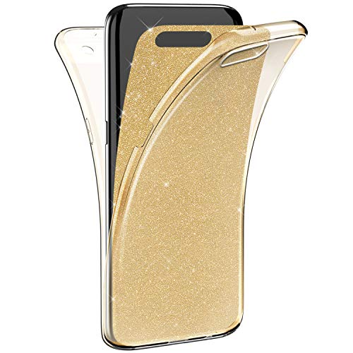 EUWLY Coque Huawei P10 Silicone Gel intégral Avant + Arrière Full-Body 360 Coverage Protective Paillette Housse Souple TPU Protection Cover Ultra Mince Bumper Case Coque,Or