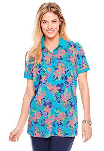 Woman Within Women's Plus Size Perfect Printed Short-Sleeve Polo Shirt - 4X, Caribbean Blue Pretty Tropicana