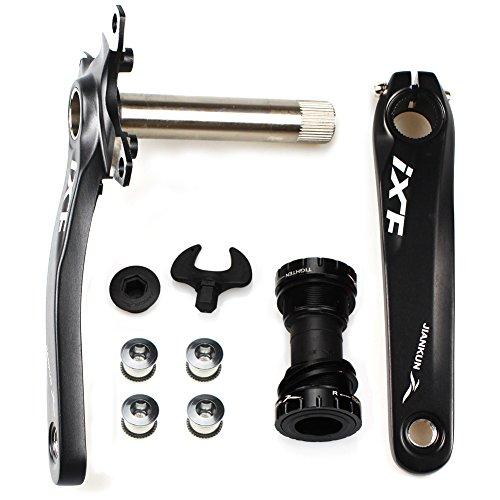FOMTOR Fahrrad-Kurbelarm-Set BCD 104 Rennrad-Kurbelgarnitur mit Tretlager und Kettenblattschrauben, 170 mm Kurbelarm (schwarz)