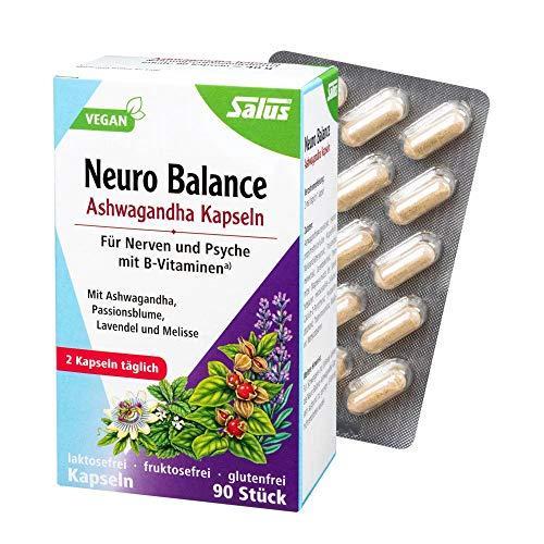 Salus Neuro Balance Bio Ashwagandha - Cápsulas para nervios y psicos, con vitaminas B, vegano, 90 cápsulas