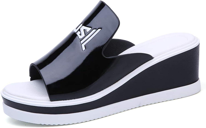 T-JULY Summer Women Slippers Solid Wedge Platform Flip Flops Patent Leather High Heels Ladies Sandals