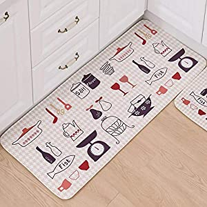 LXESWM 2 Pc Kitchen Rugs Set Non-Slip Kitchen Mats Rug Nordic style Long Kitchen Mat anti-slip Bedroom bedside carpet Balcony Bathroom absorbent mat,2 Piece,#2,50×80cm+50×120cm