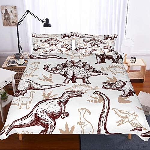 JSDJSUIT Sets de Housse MUSOLEI 3D Ensemble Housse de Couette Animal Blanc Couleur Monde Dinosaure Drap de lit Twin Queen King, US Queen 3pcs Us King: Housse de Couette 259x229cm