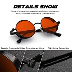 CGID E72 Retro Steampunk Style Unisex Inspired Round Metal Circle Polarized Sunglasses for Men and Women Black Frame Red Lens #2