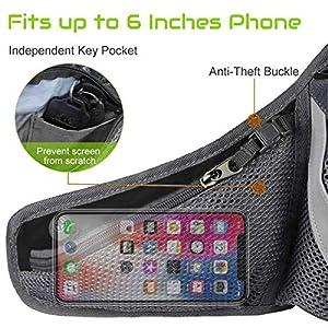 PYFK Running Belt Hydration Waist Pack with Water Bottle Holder for Men Women Waist Pouch Fanny Bag Reflective (Black)